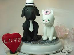 custom wedding cake topper dog u0026 cat love with beautiful stand