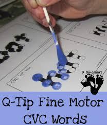 q tip fine motor cvc words 3 dinosaurs