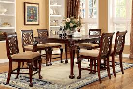 Hokku Designs Dining Set by Furniture Of America Orlain Carved Detail 7 Piece Counter Height