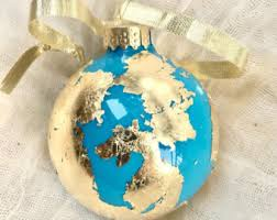 gold leaf globe ornament gilded glass earth