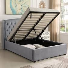 Superking Ottoman Bed Safina Wing Back King Size Ottoman Bed In Grey Velvet Furniture123