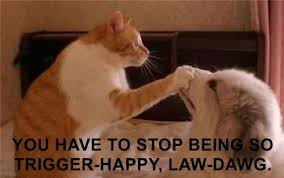Law Dog Meme - you have to stop being so trigger happy law dawg i has a hotdog