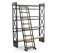 industrial bookcase with ladder ideas home interior u0026 exterior
