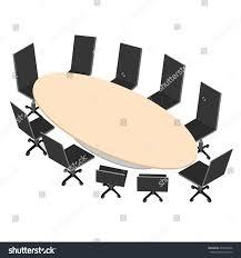 Conference Table With Chairs Oval Conference Table Black Office Chairs Stock Vector 437870506