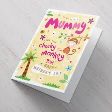 mothers day card personalised s day card from your cheeky monkey