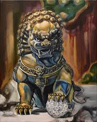 foo fu dog fu dog 20 x 16 x 3 4 original painting by paintingsbyjanice