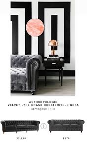 anthropologie velvet lyre grand chesterfield sofa copycatchic