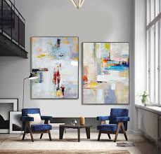 set of 2 large contemporary painting abstract canvas art