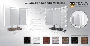 tri fold mirror with lights trifold lighted tabletop mirror tm 400 grand mirrors inc official