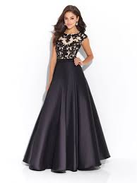 party frocks line cap sleeves lace and satin black prom evening party