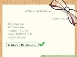 how to write a letter for proof of residence with sample letter
