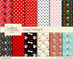 themed paper dog themed digital patterns paper pack sofontsy