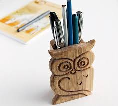 Desk Pencil Holder Wood Pen Holder Christmas Gift Carved Owl Pen Stand Office