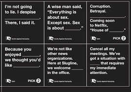 words against humanity cards house of cards against humanity play on words leads to free cards