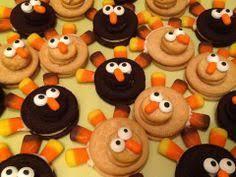 thanksgiving desserts nutter butter turkeys acorn treats