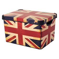 Contemporary Style Decoration with British Flag Decorative Storage