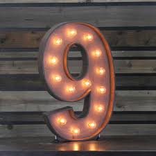 marquee numbers with lights edison marquee number 9 town country event rentals
