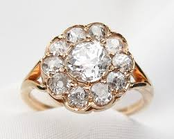 antique gold engagement rings 14kt gold diamond cluster ring 14kt yellow gold cluster ring