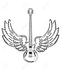 electric guitar with wings stylized electric guitar with