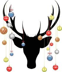 christmas deer christmas deer with baubles stock vector colourbox