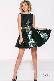 sheer midriff floral short dress with flower appliques on skirt