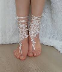 barefoot sandals for wedding bridal anklet ivory wedding barefoot sandals bangle