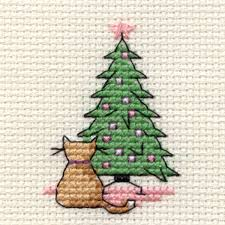 cat studying tree mini cross stitch kit 6 4 cm