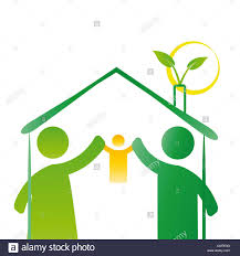 Inhouse Pictogram Showing Figures Happy Family In House Stock Photo