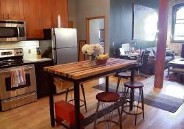 kitchen traditional butcher block island with 4 stools butcher