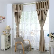 beige bedroom well made window curtains design