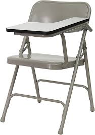 fold up desk chair premium steel folding chair with right handed tablet arm from