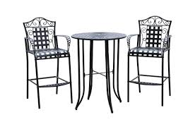 Wicker Bar Height Patio Set Three Posts Snowberry 3 Piece Wrought Iron Bar Height Bistro Patio