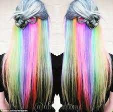 hair colours women show off their hidden secret rainbow hair colour on social