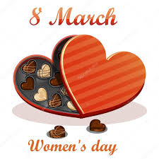 chocolate s day 8 march women s day greeting card celebration background with