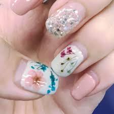 nails korean trend pressed flower nail art