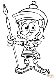 cartoon roman soldier with spear coloring page free printable