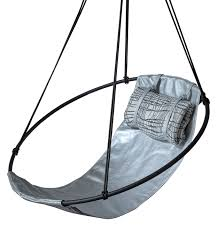 Hanging Swing Chair Outdoor by Sling Hanging Swing Chair Silver Metallic Leather Contemporary