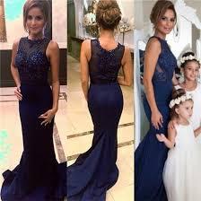 blue sequin bridesmaid dress navy blue lace mermaid bridesmaid dresses 2017 sheer neck applique