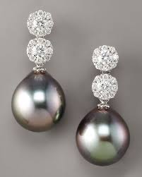 diamond and pearl earrings assael diamond pearl drop earrings in silver black lyst