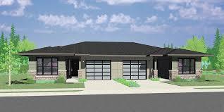 modern prairie style modern prairie style ranch duplex house plan