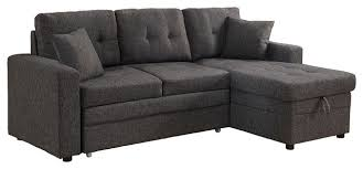 Sleeper Sofa With Storage Darwin Sectional Sofa With Storage And Pull Out Bed Contemporary