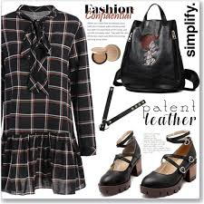 preppy for women over 50 how to wear preppy bow tie collar plaid dress checked outfit idea