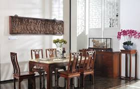 fascinating asian room decor of dining area with plate wall decor