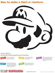 mario pumpkin carving stencil play nintendo