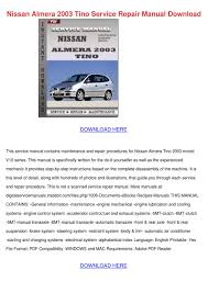 nissan almera 2003 tino service repair manual by ellendenman issuu
