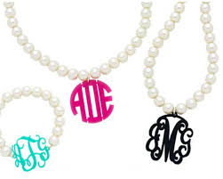 acrylic monogram necklace pearl monogram necklace acrylic so chic bebe