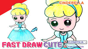 how to draw cinderella step by step cute and easy in color
