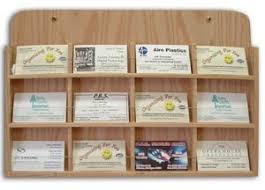 oak wood wall mount business card holder rack 12 pocket horizontal