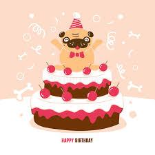 pug birthday card vector illustration stock vector image 49834480