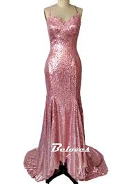 pink sequin prom dress mermaid prom gown backless prom dress